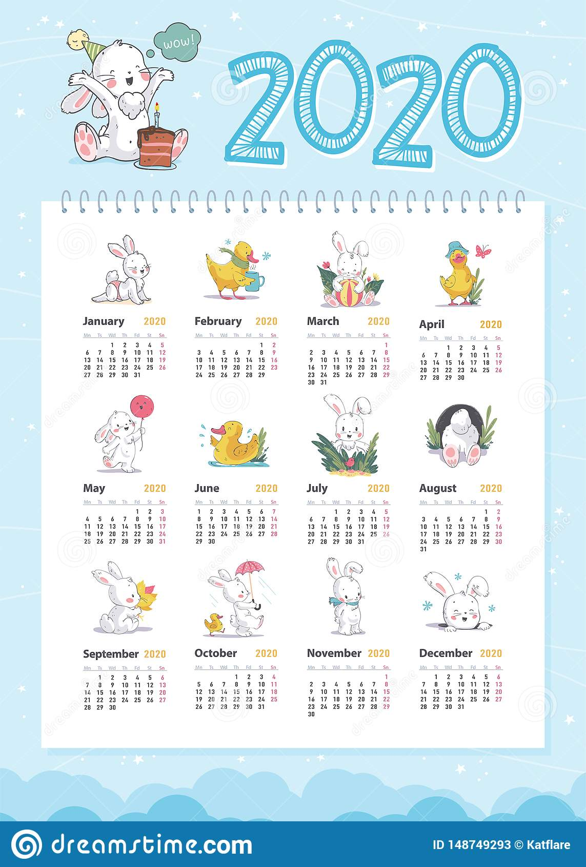 Vector baby calendar for 2020 year template with cute little white bunny and yellow funny duck characters in hand drawn style walk