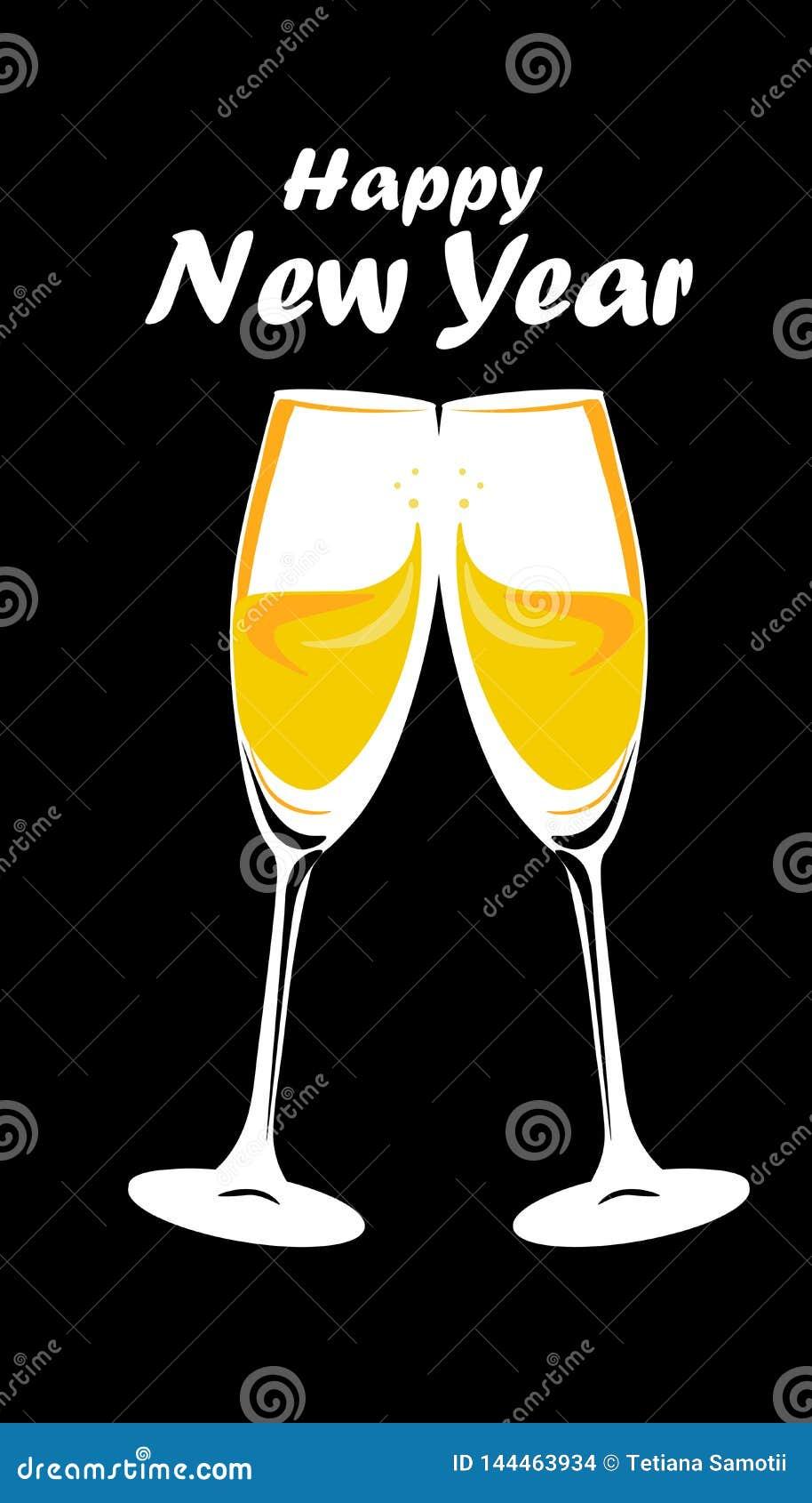 Web Vidrios de plata chispeantes del champán del oro Ilustración del vector Concepto de las letras de la Feliz Año Nuevo Lugar pa
