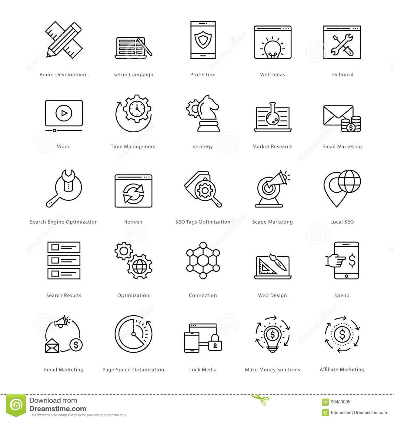 Web y SEO Line Vector Icons 12