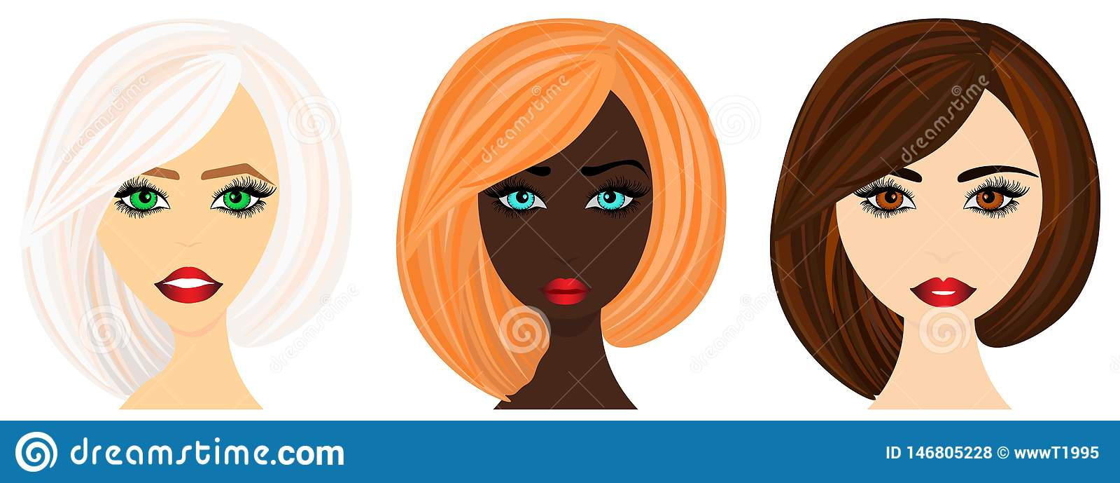 Weba reeks vrouwengezichten van divers behoren tot een bepaald ras Vectorillustratie aan gebruik op manier
