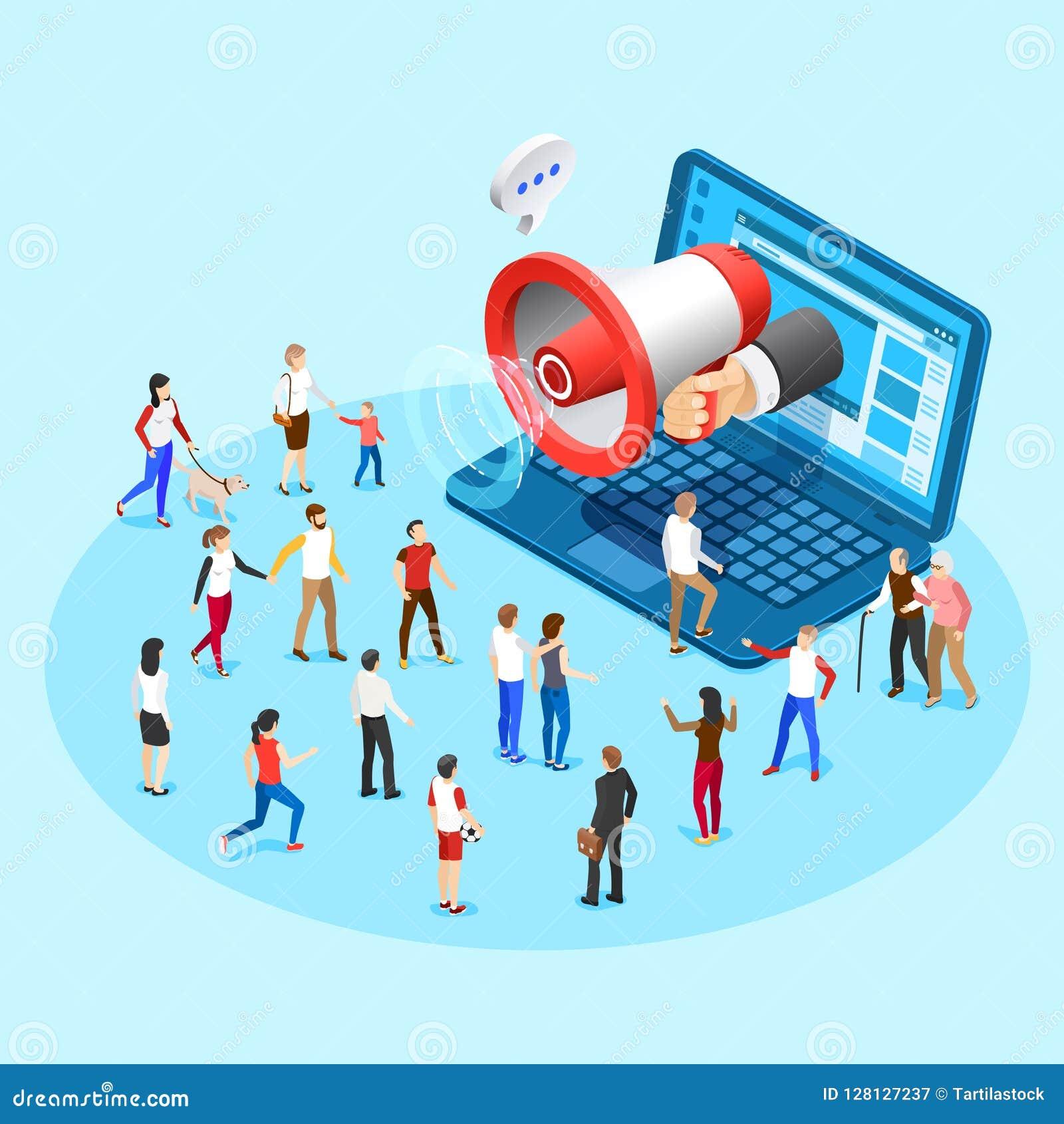 Webbevordering marketing De reclame van sociale media megafoon het uitzenden advertenties van laptop het scherm vector isometrisc