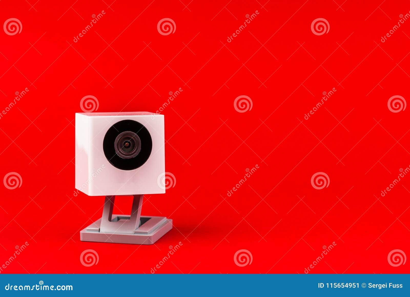 Webcam λευκό σε ένα κόκκινο υπόβαθρο, αντικείμενο, Διαδίκτυο, τεχνολογία γ