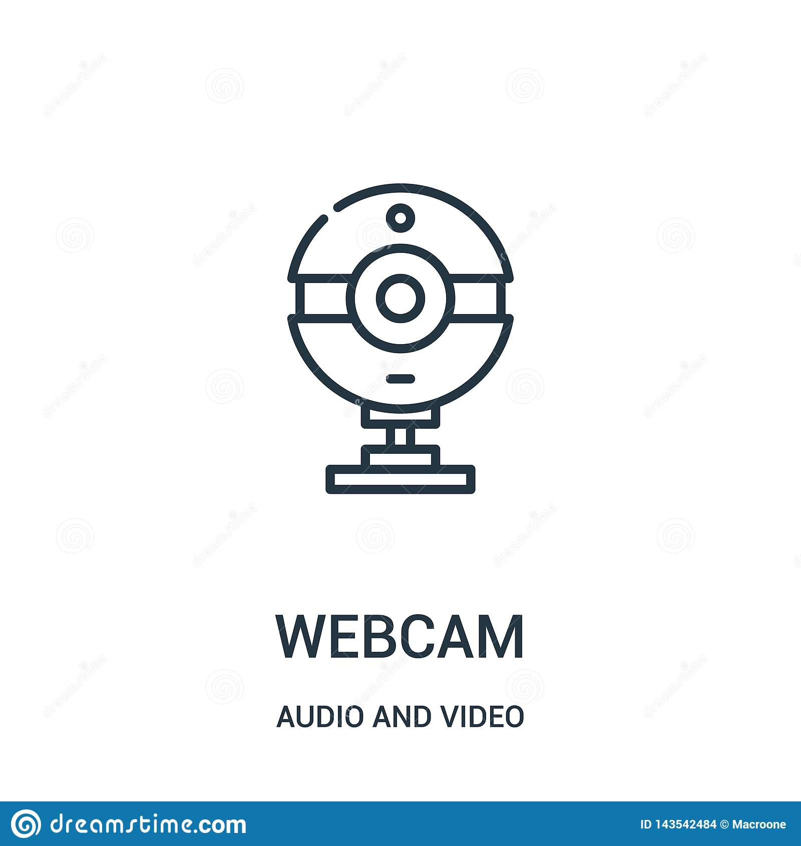 webcam icon vector from audio and video collection. Thin line webcam outline icon vector illustration