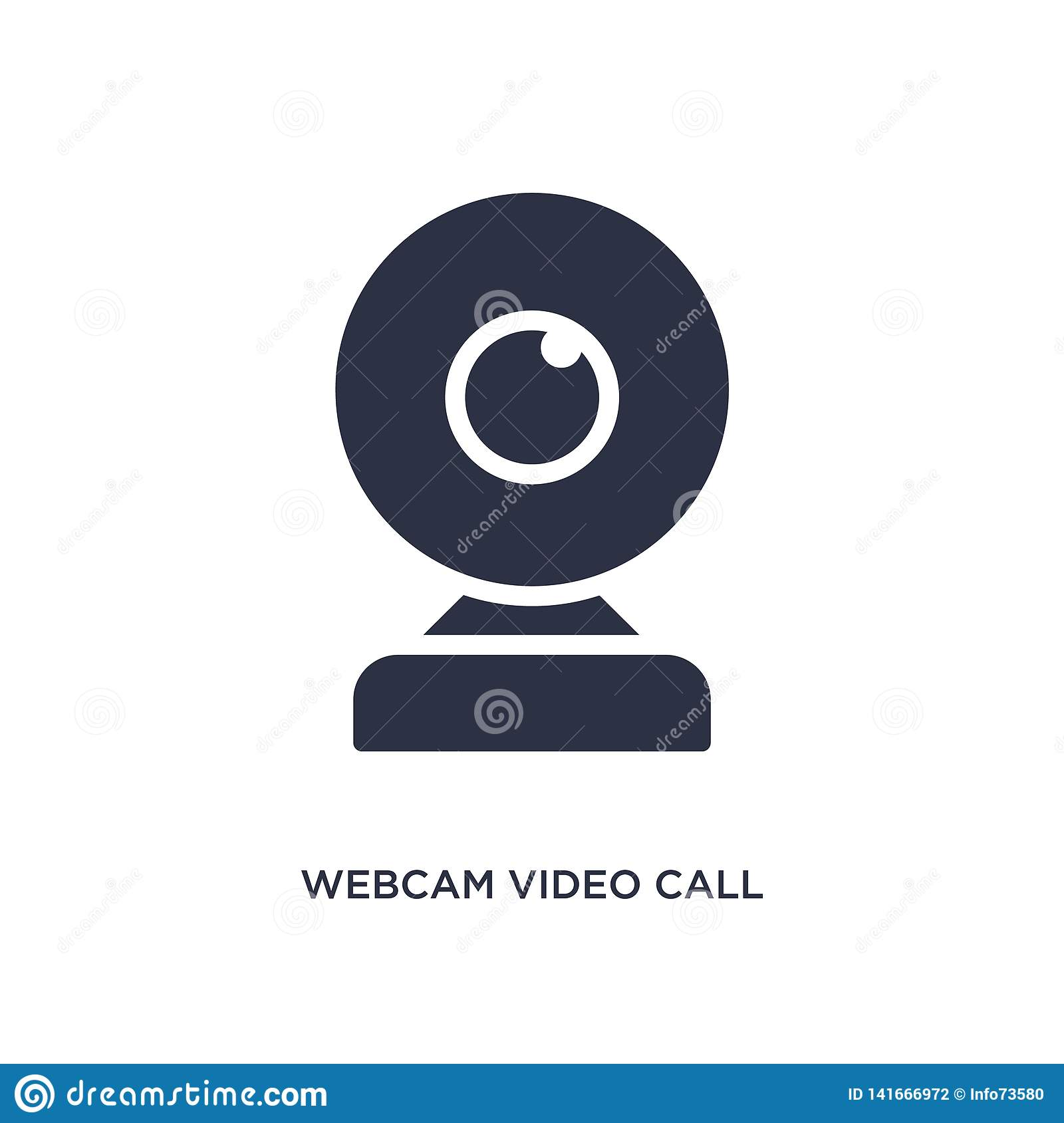 webcam video call icon on white background. Simple element illustration from music and media concept