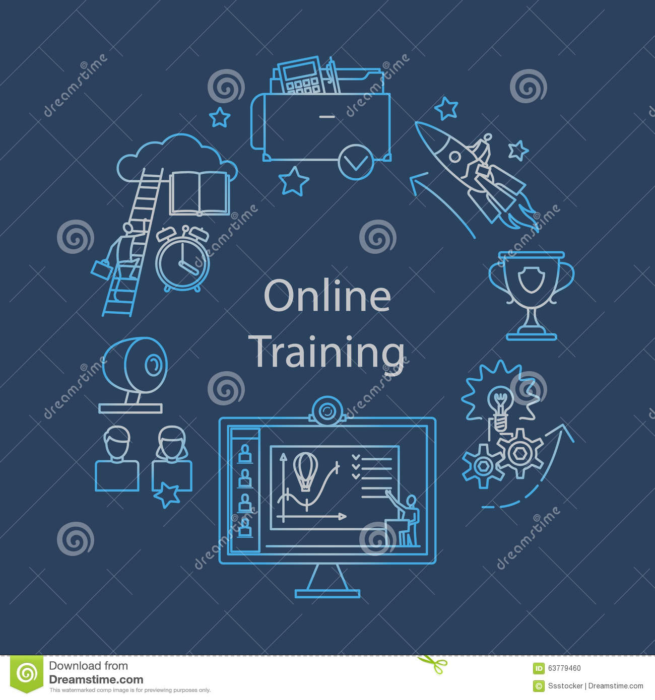 Webcast, E-learning And Online Event Outline Icon Stock Vector ...