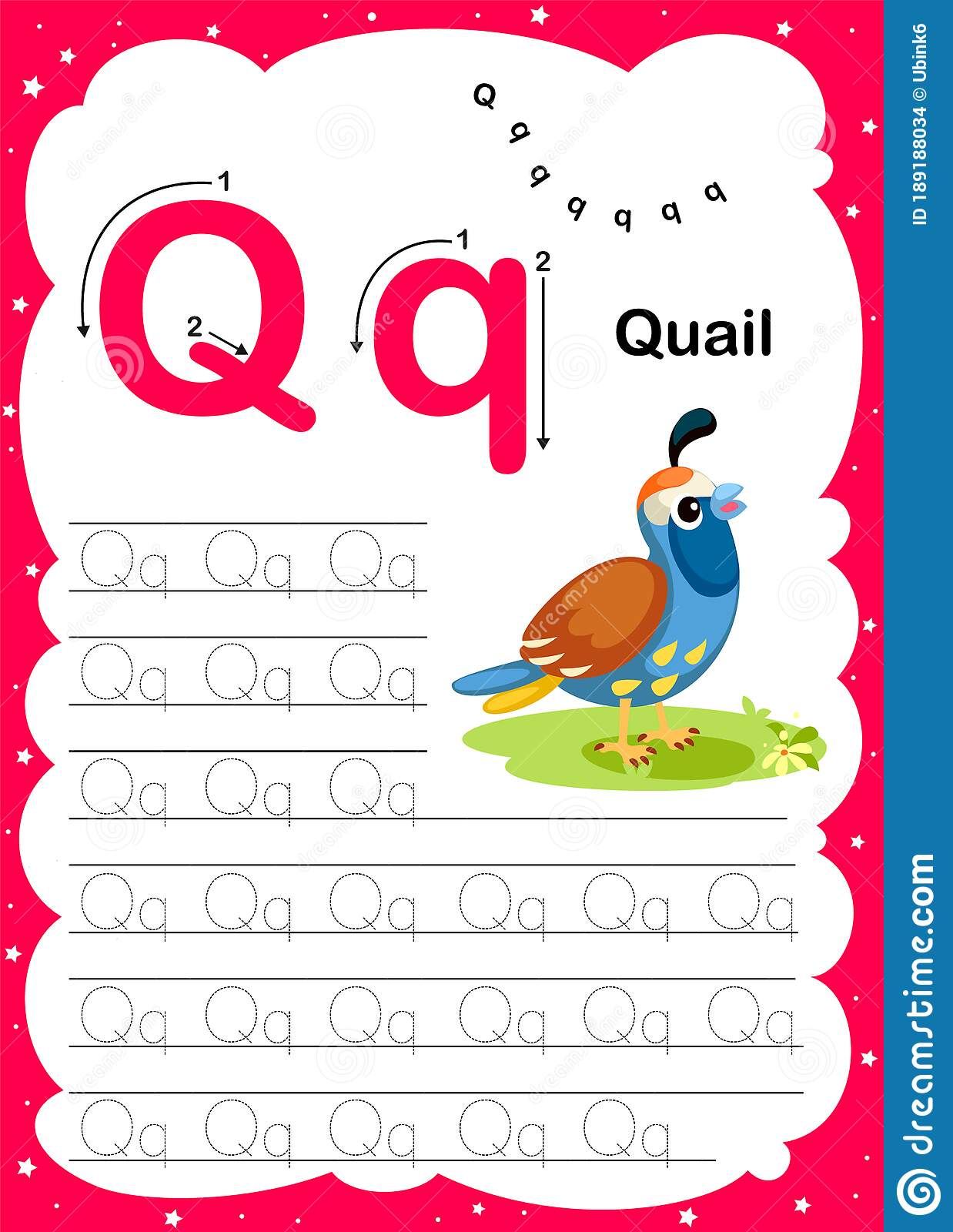 Webcolorful Letter Q Uppercase And Lowercase Alphabet A Z Tracing And Writing Daily Printable A4 Practice Worksheet With Cute Stock Vector Illustration Of Series Sheet 189188034