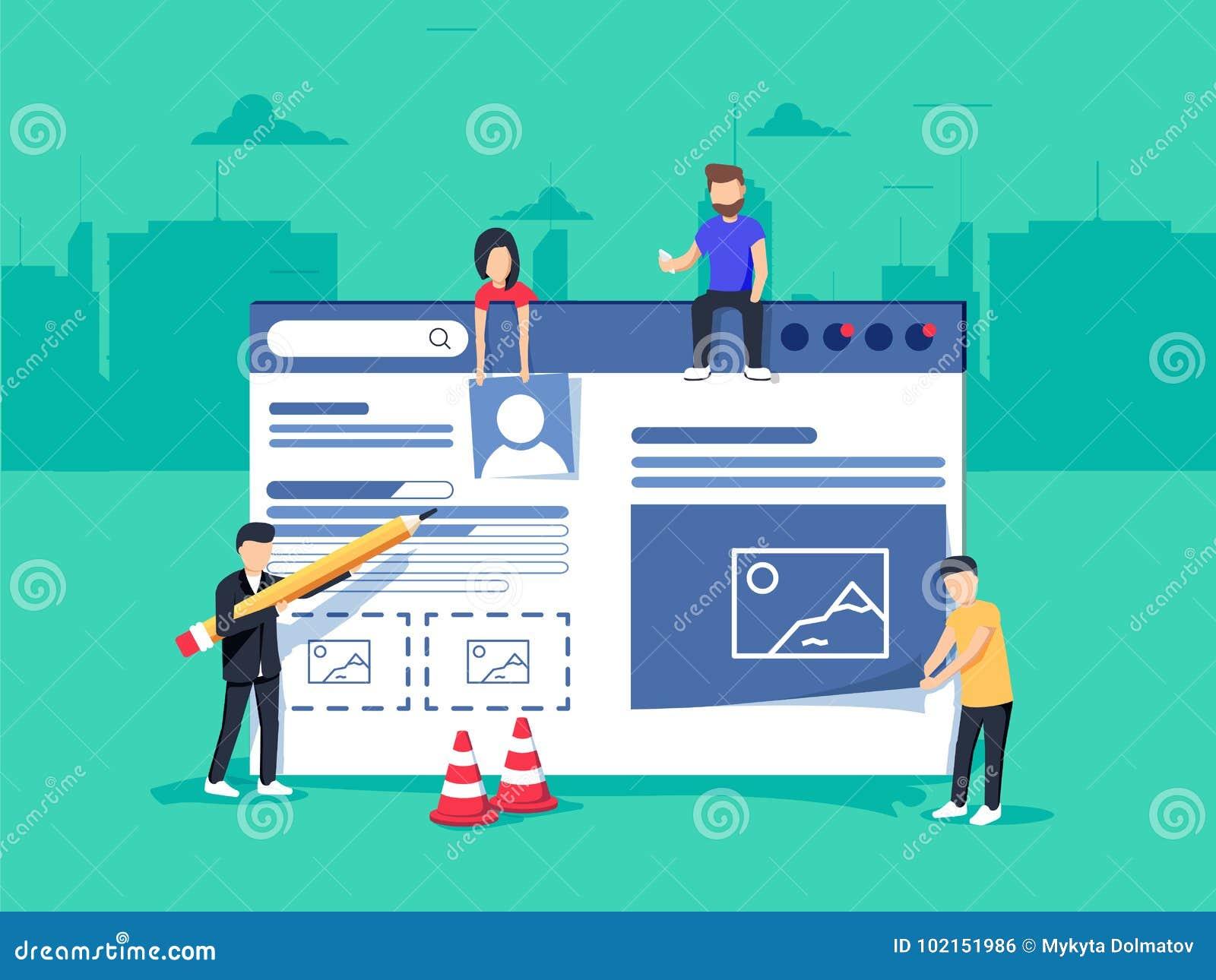 Webdesign und Entwicklung Site im Bau Ein Team von den jungen Fachleuten, die an einer Landungsseite arbeiten