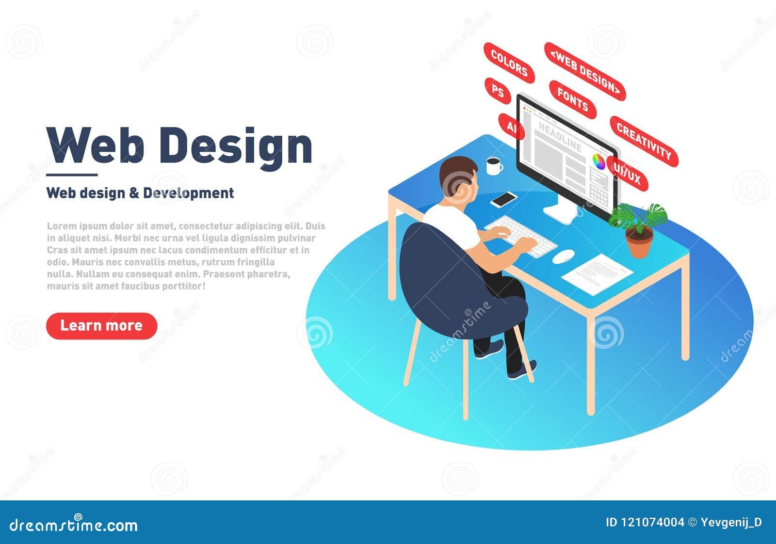 Webdesign und Entwicklungskonzept Netzdesigner arbeitet an Computer Designer, Programmierer und moderner Arbeitsplatz in isometri