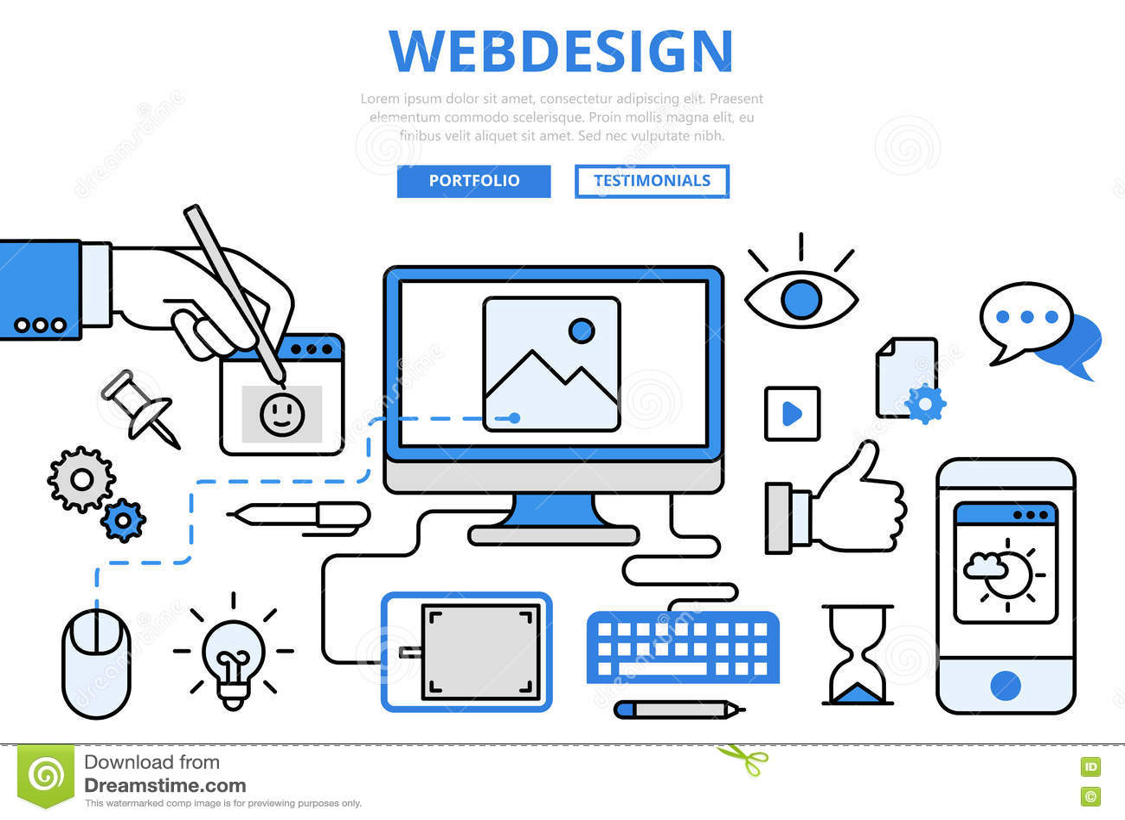 Line Art Website : Webdesign website design gui concept flat line art vector