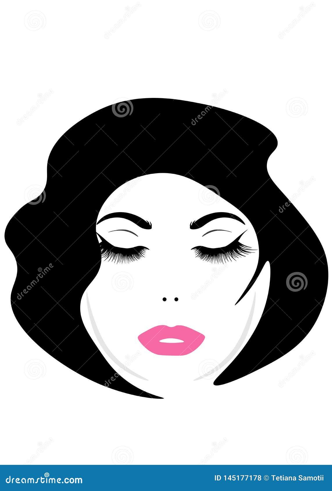 Webgezicht van een jonge mooie vrouw met lang haar Het pictogram van het vrouwenkapsel De embleemvrouwen zien met modieus kapsel