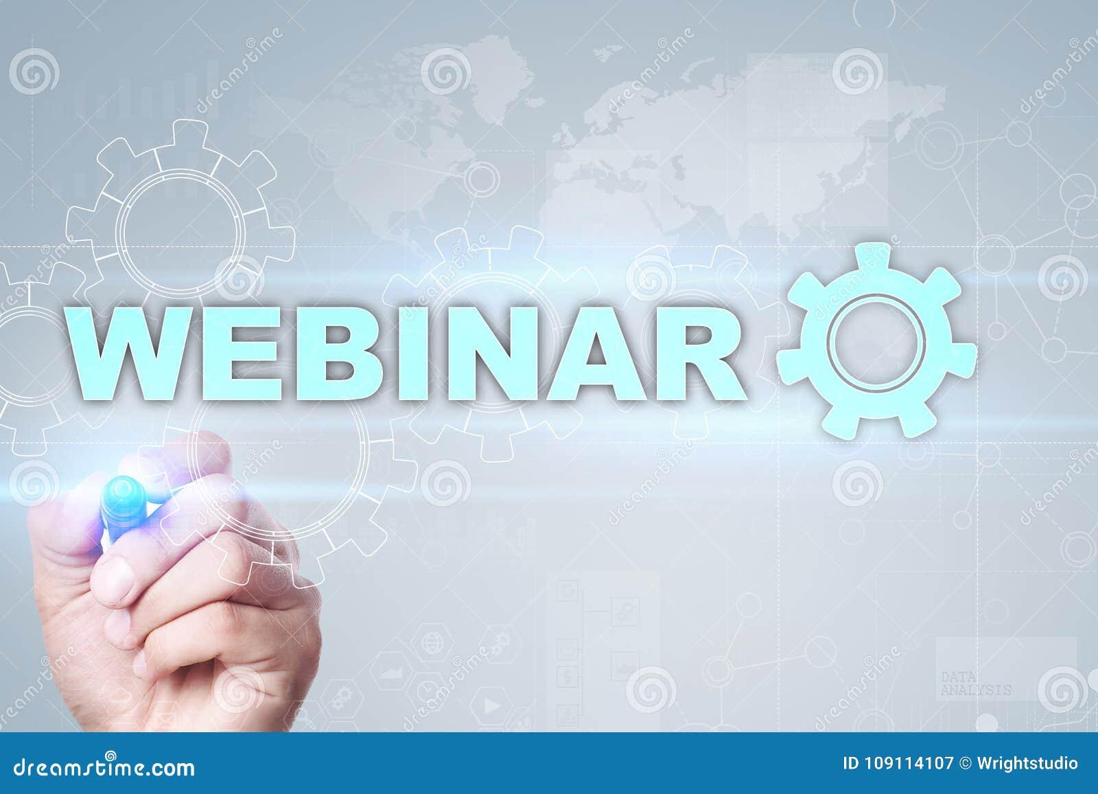 Webinar Ε-μαθαίνοντας, σε απευθείας σύνδεση έννοια εκπαίδευσης ανάπτυξη προσωπική οθόνη εικονική