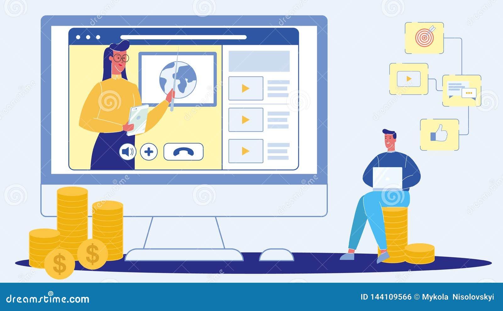 Webinar, ζωντανή επίπεδη διανυσματική απεικόνιση διασκέψεων