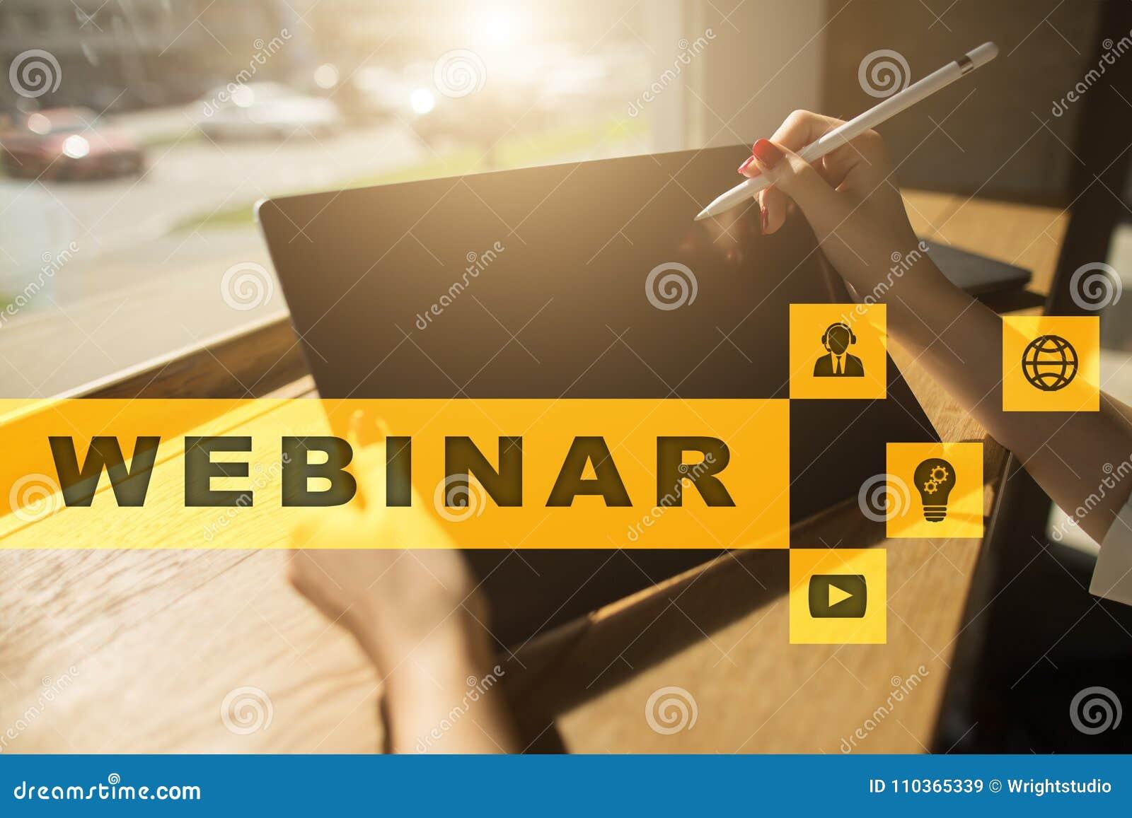 Webinar Обучение по Интернетуу, онлайн концепция образования развитие личное экран фактически