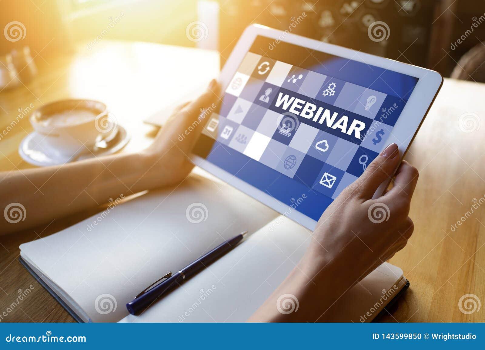 Webinar, apprentissage en ligne, concept en ligne d éducation sur l écran
