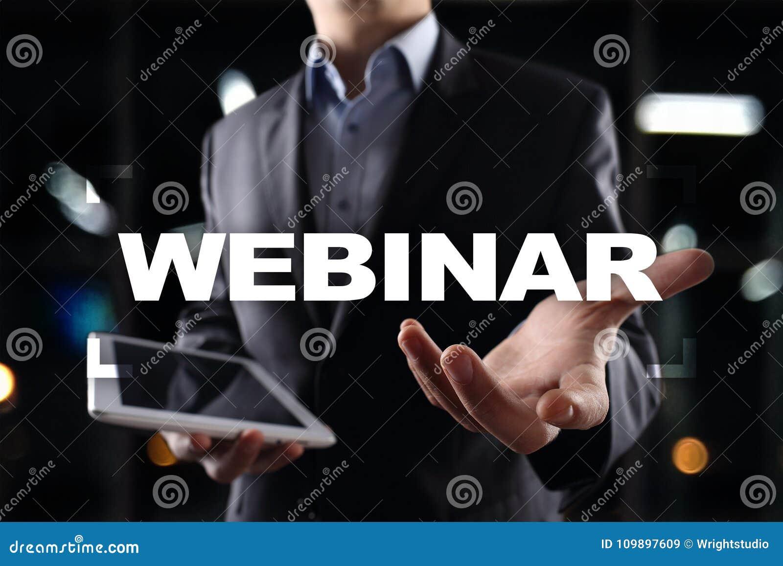 Webinar Aprendizaje electrónico, concepto en línea de la educación Desarrollo personal Escritura en una pantalla virtual