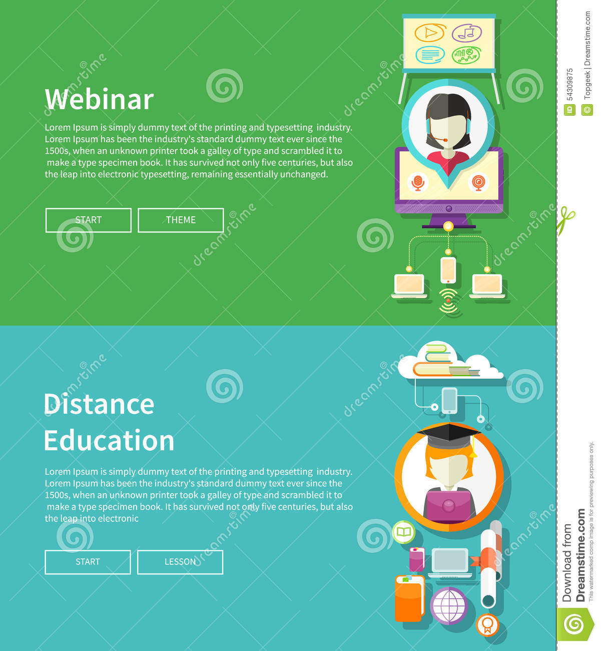 Webinar And Distance Education Stock Vector - Image: 54309875