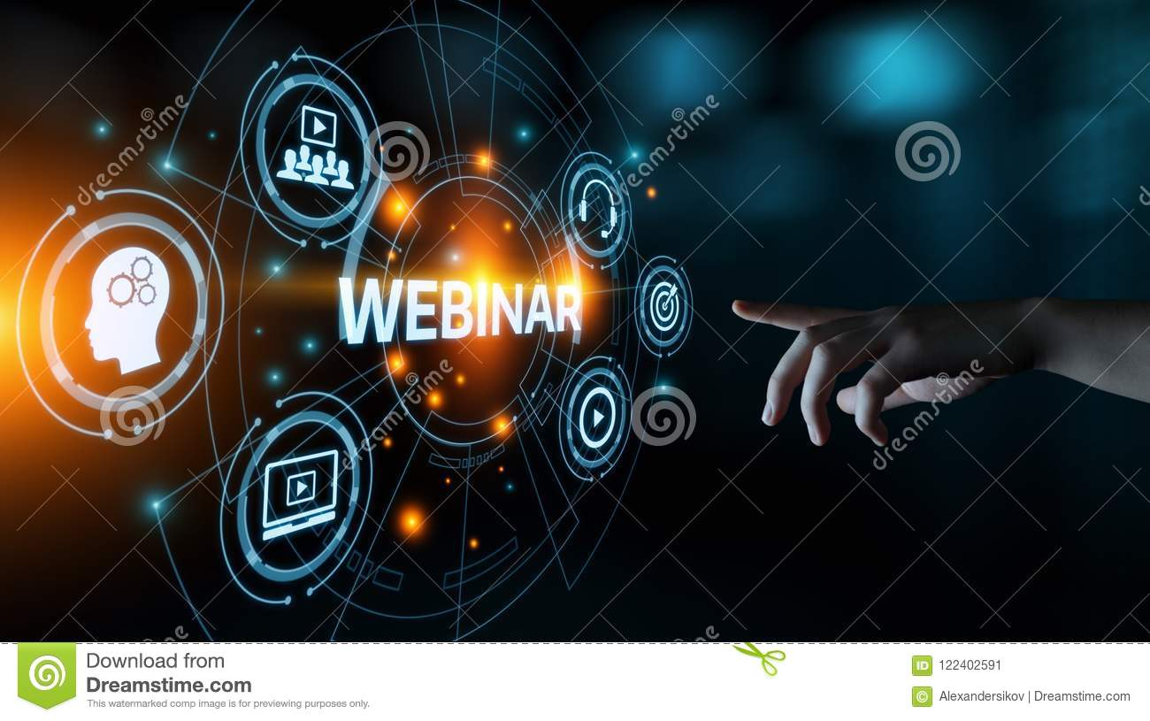 Webinar-E-Learning-Trainings-Geschäfts-Internet-Technologie-Konzept