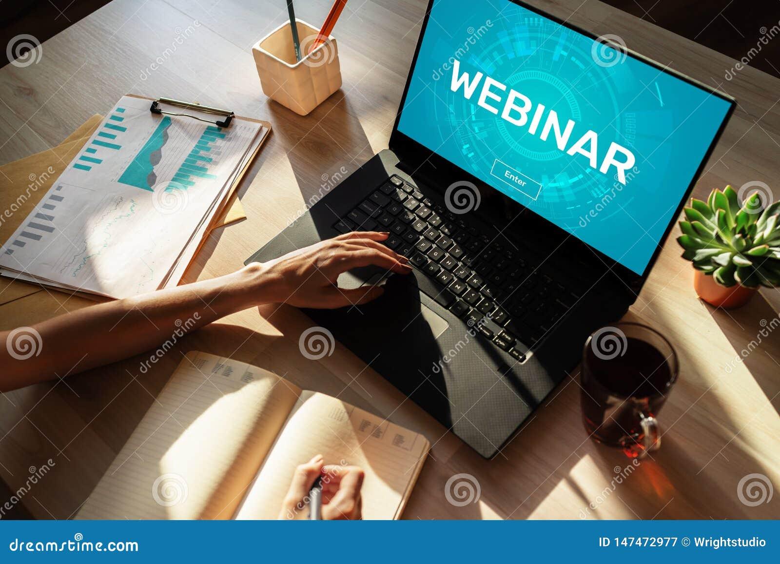 Webinar Edukacja, nauczanie online, Biznesowa nauka i og?oszenie towarzyskie rozwoju poj?cie,