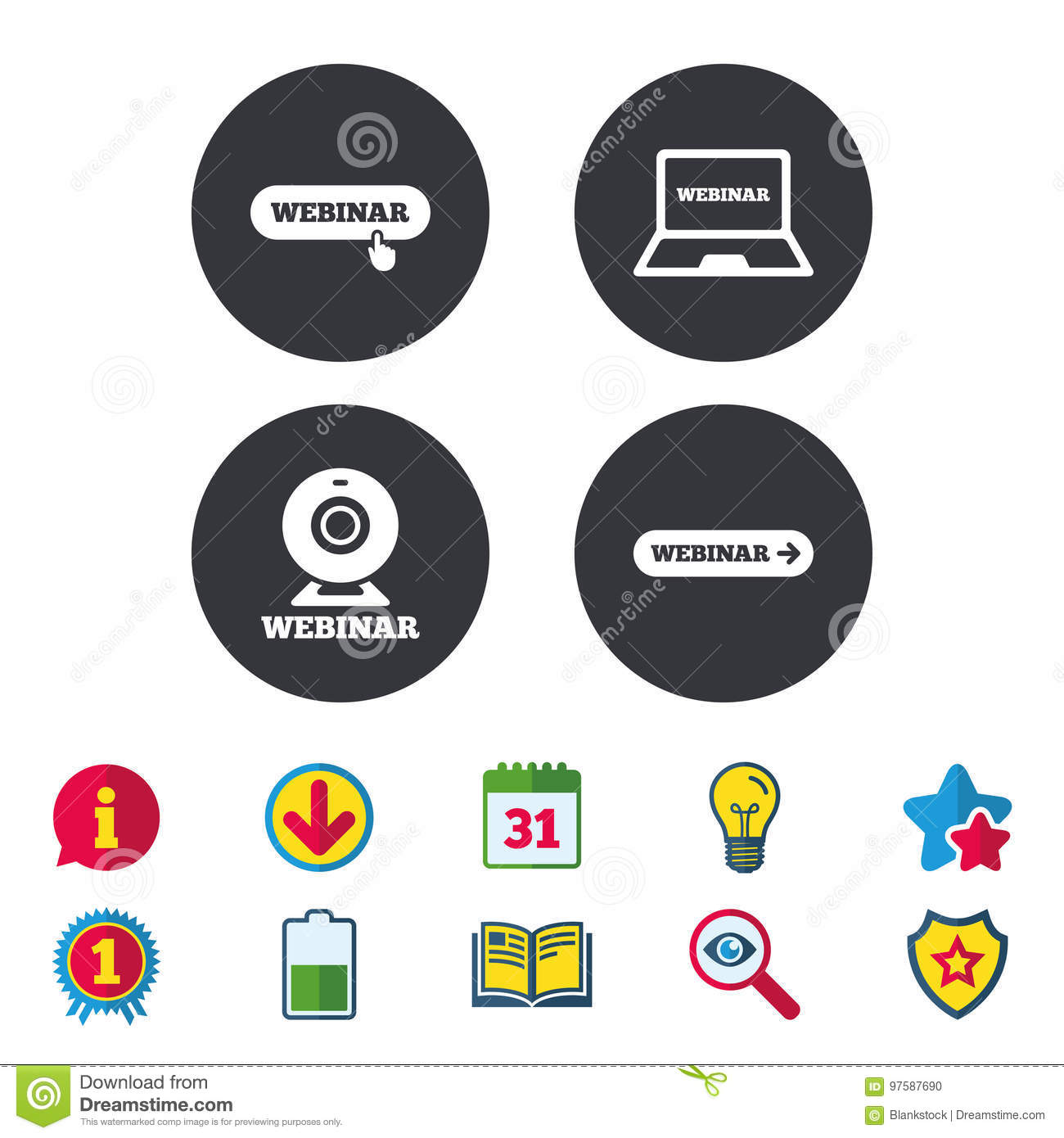 Webinar Icons Web Camera And Notebook Pc Signs Stock Vector