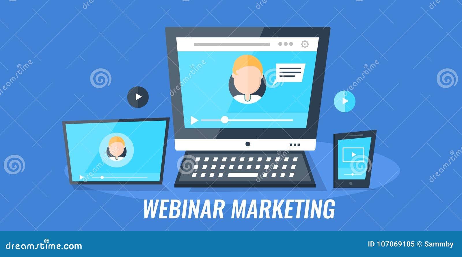 Webinar marketing - videoconfereren - Webseminarie over digitale media apparaten Vlakke ontwerp vector marketing banner