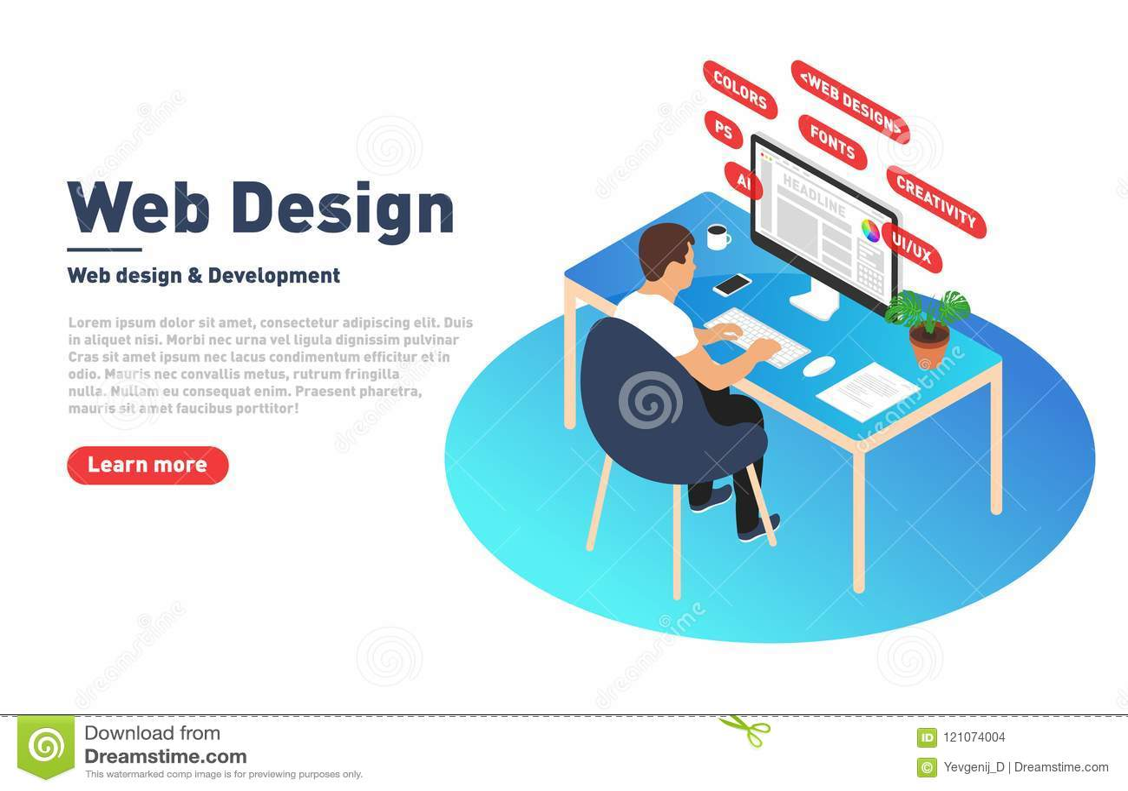 Webontwerp en ontwikkelingsconcept De Webontwerper werkt aan computer Ontwerper, programmeur en moderne werkplaats in isometrisch