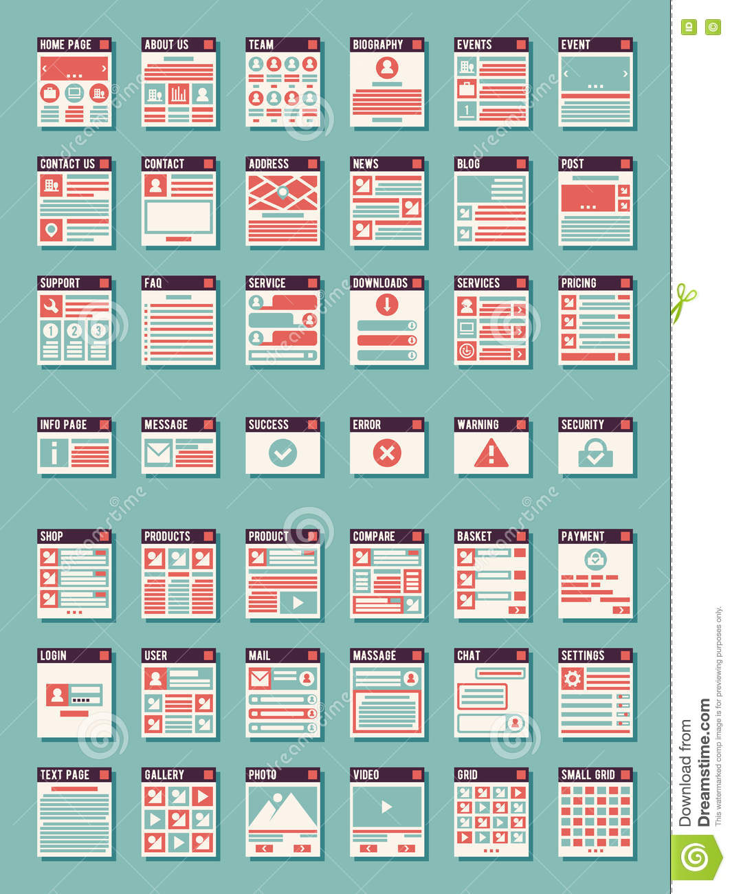 Webpage, sitemaps vector icons