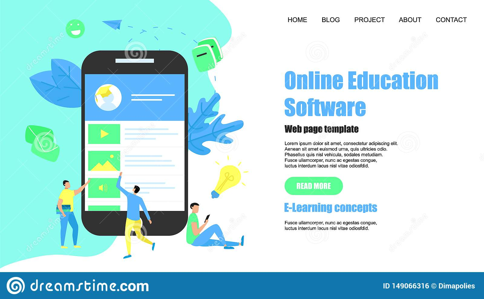 Webpaginamalplaatje Online onderwijs app E-lerend Concept