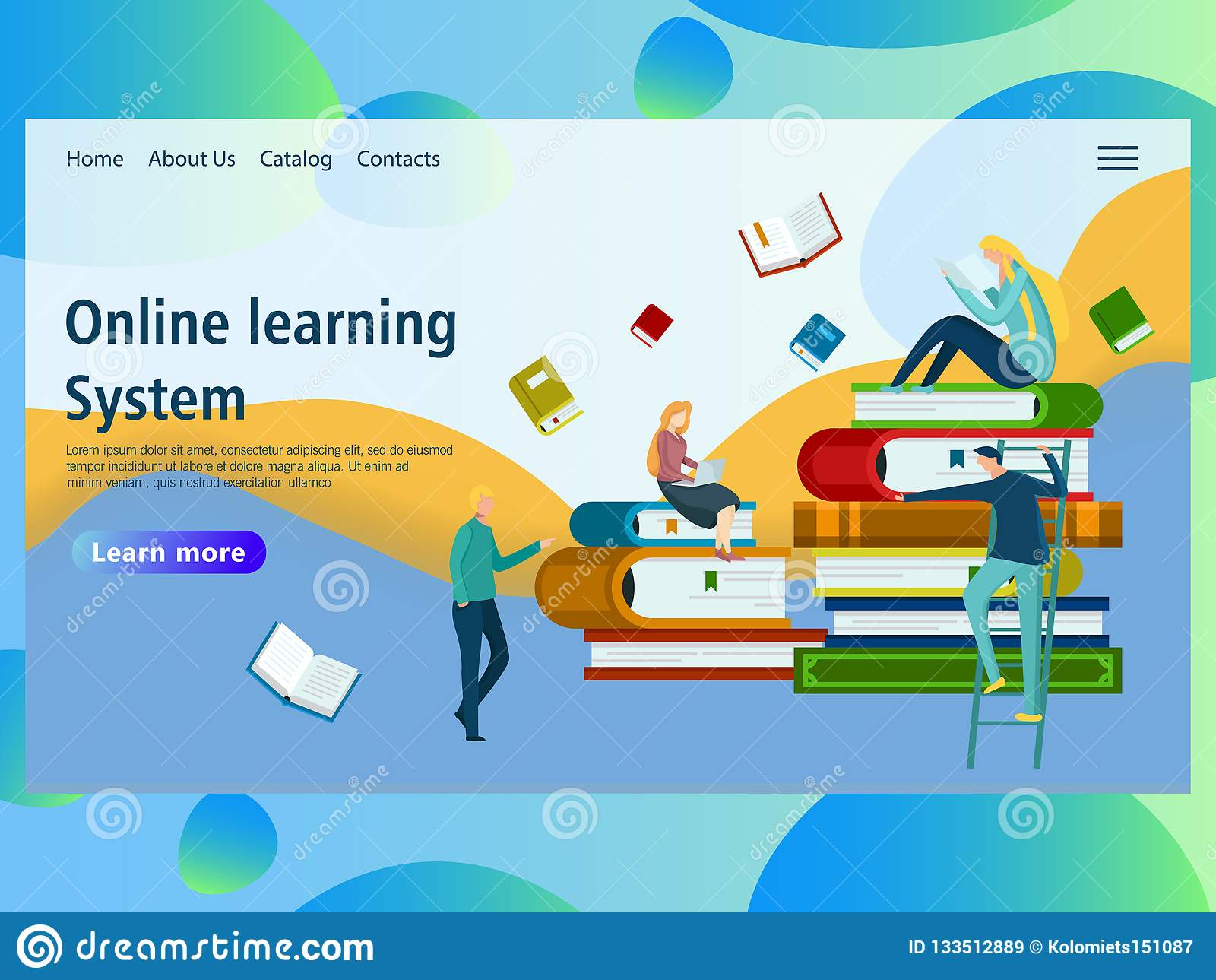 Webpaginaontwerpsjabloon voor online onderwijs, e-leert afstandscursussen,