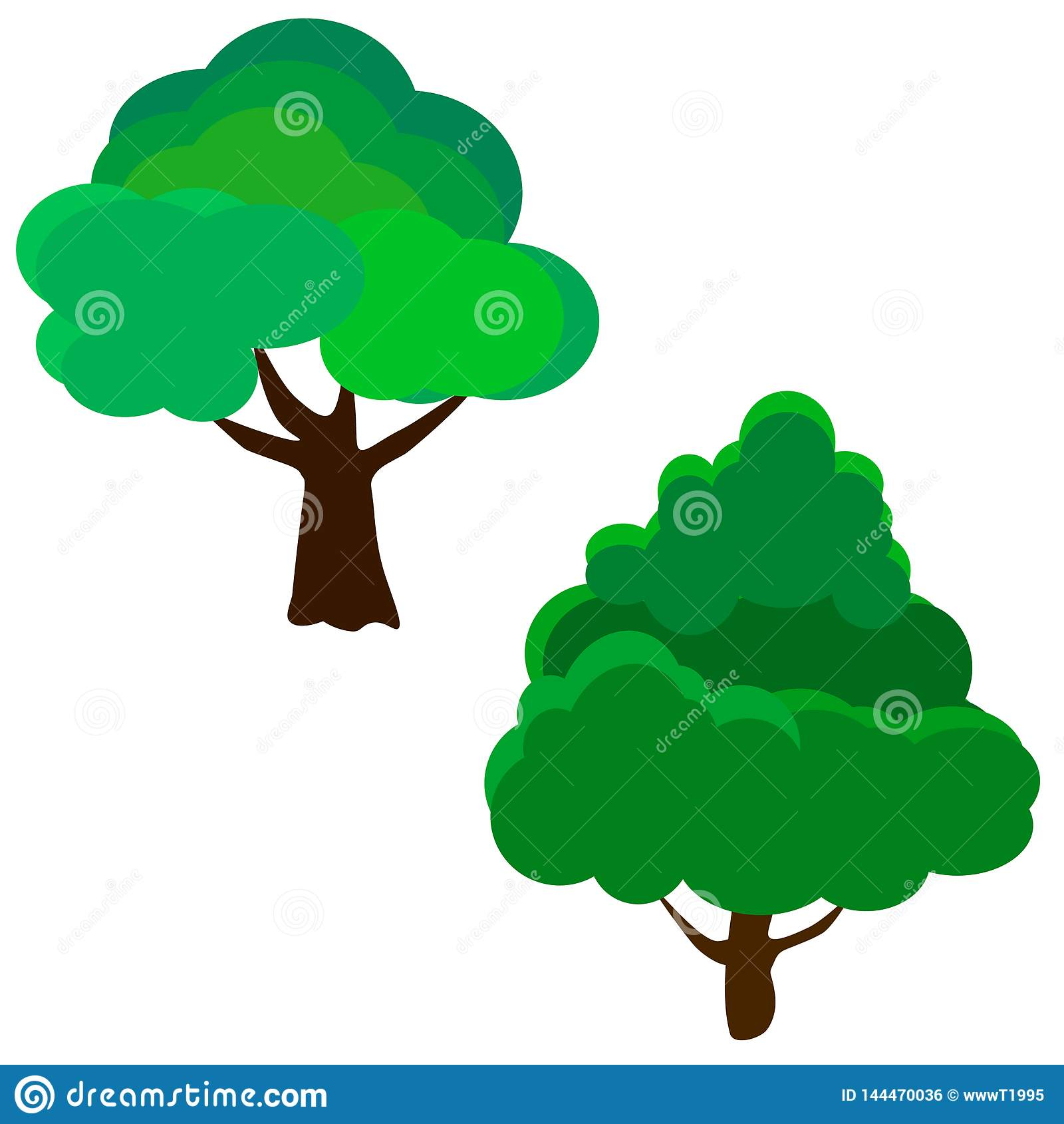 Webreeks verschillende bomen Vector illustratie Eps 10
