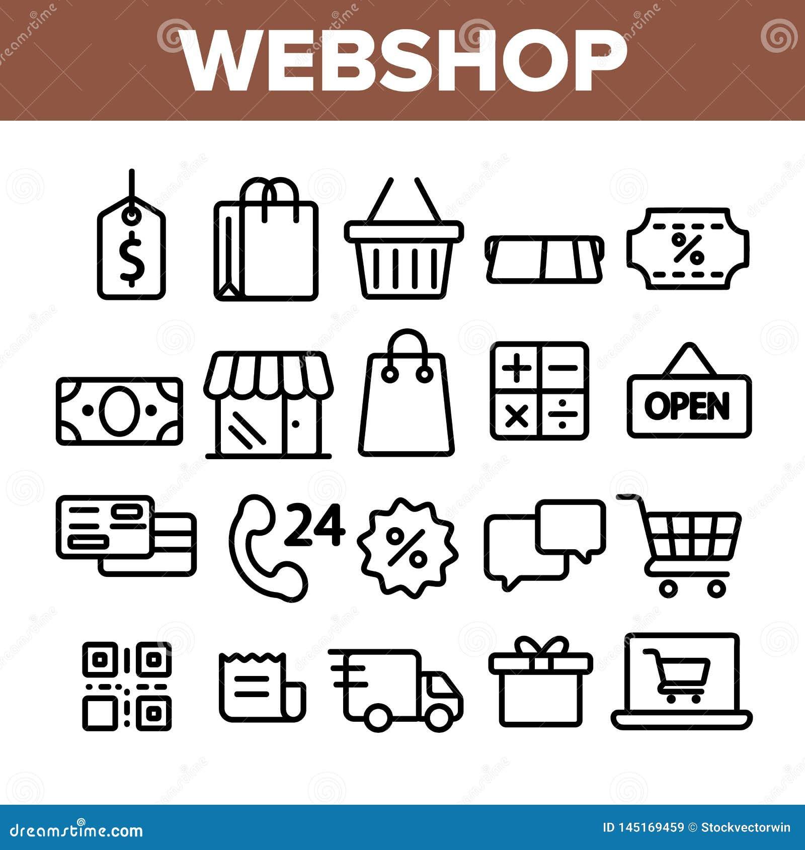 Webshop, γραμμικά διανυσματικά εικονίδια on-line αγορών καθορισμένα