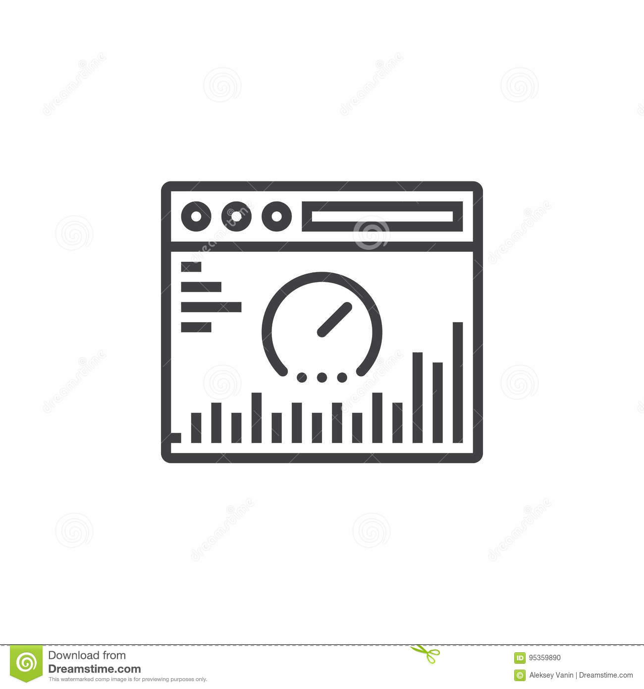 Website analysis line icon, outline vector sign, linear pictogram isolated on white. logo illustration
