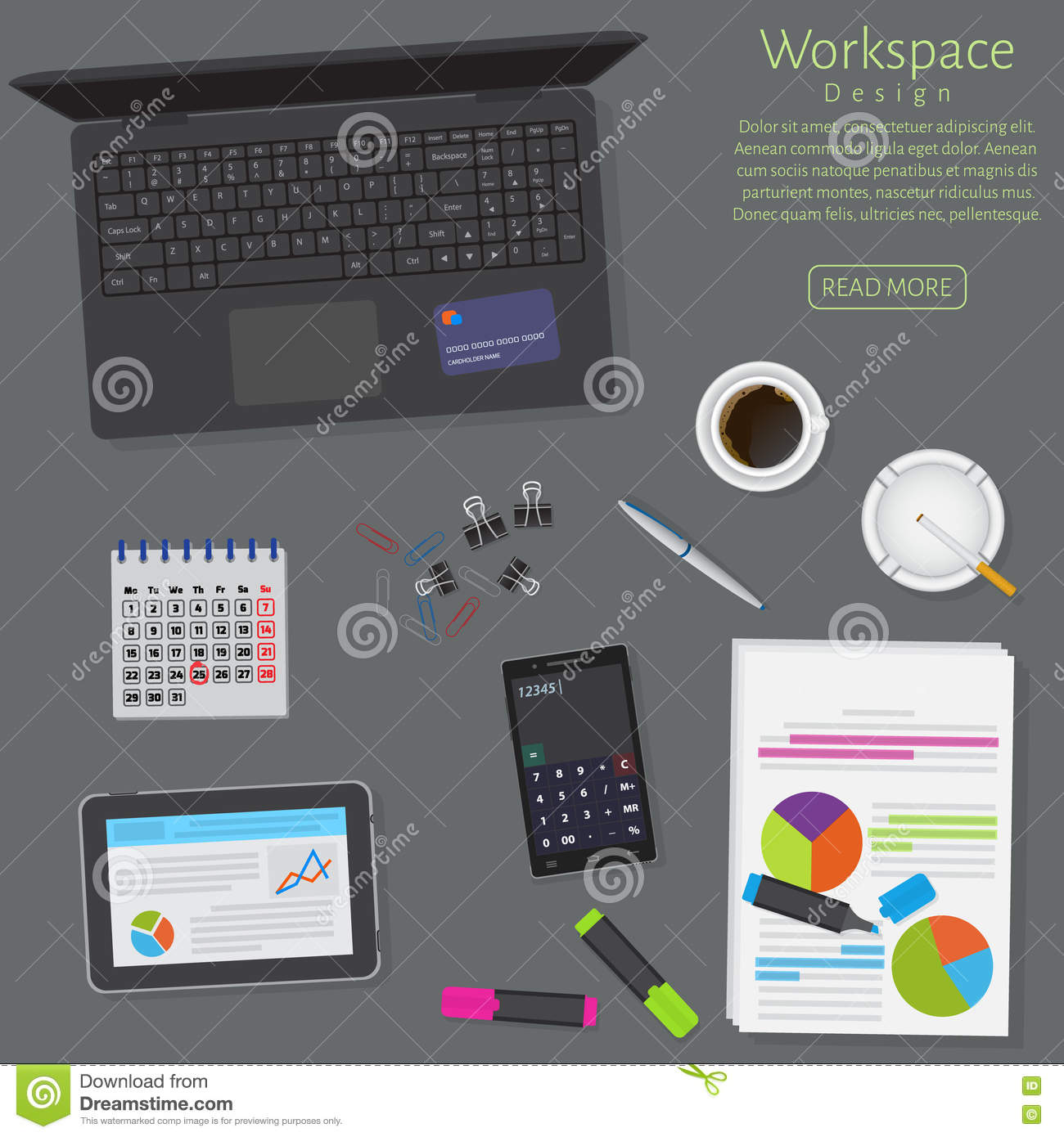 Banner Set Office Workplace Interior Design Graphic