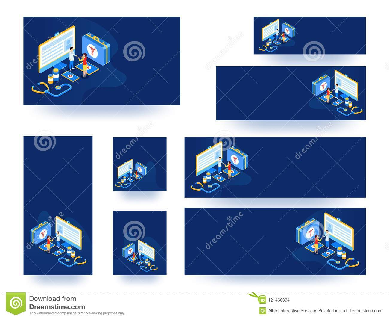 Website Banner Or Template Set Or Collection  Isometric View