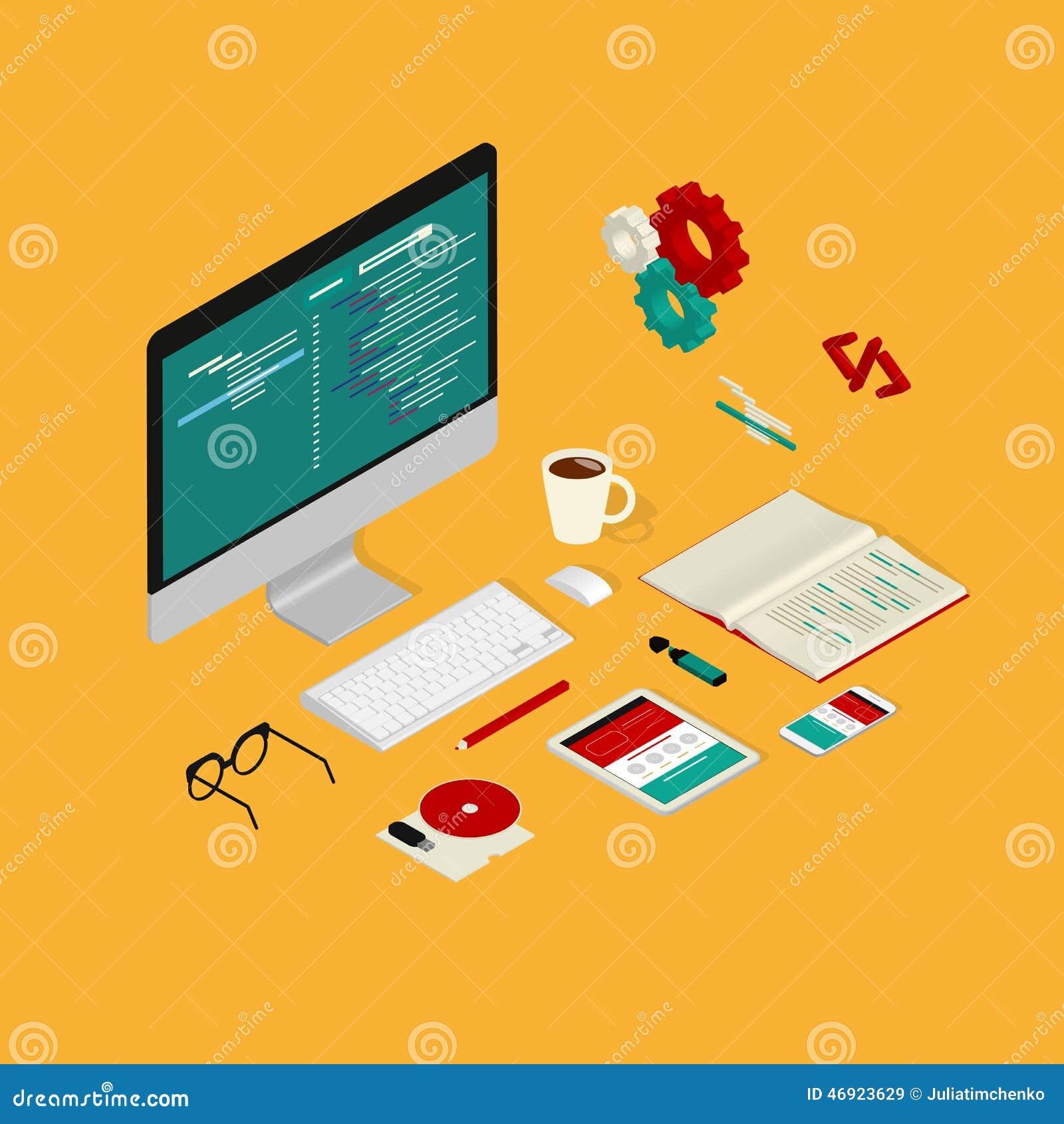 Vector Illustration Web Designs: Website Coding Stock Vector