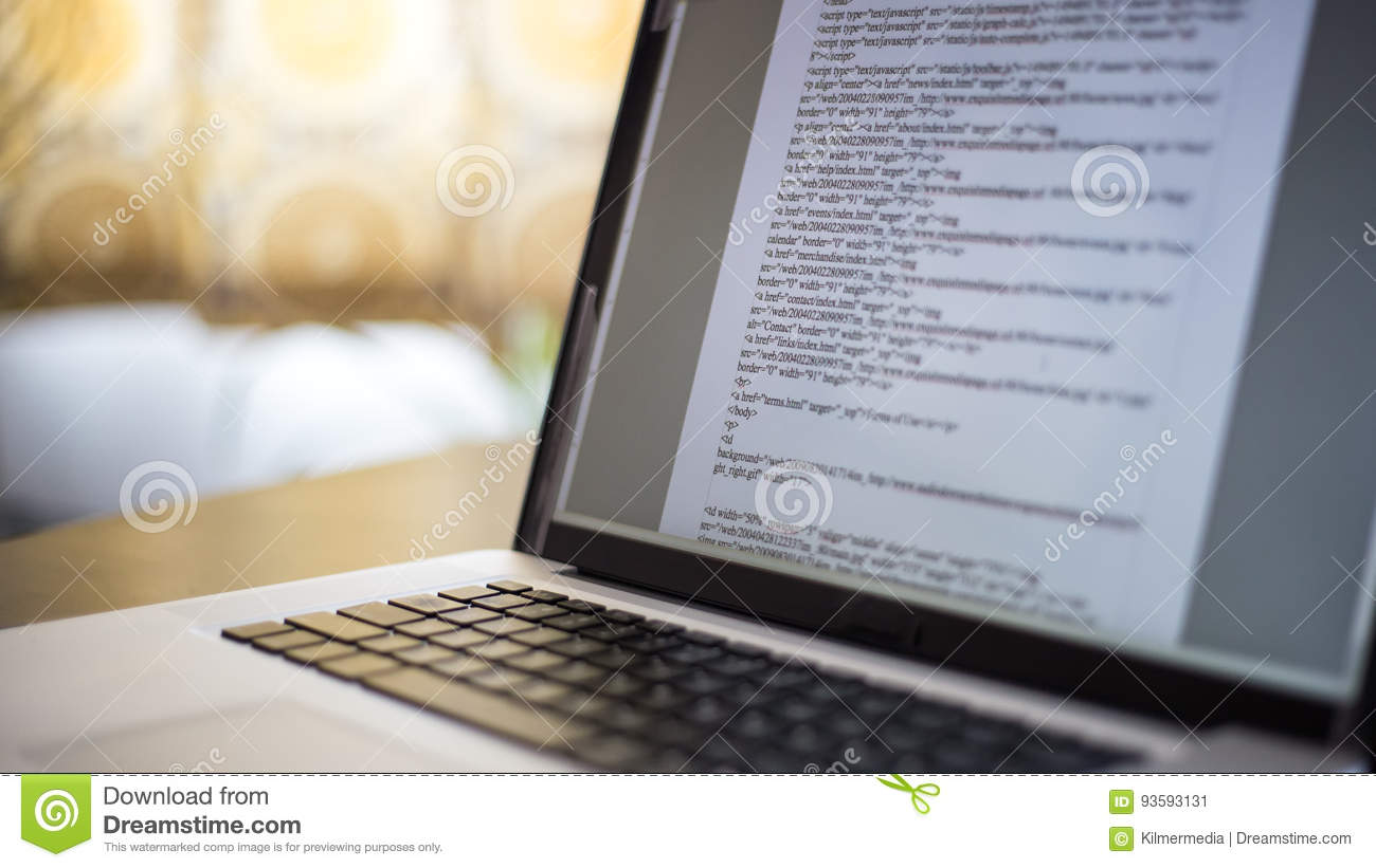 website coding on laptop computer screen stock image image of tech