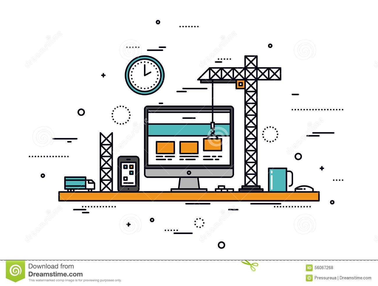 Website Construction Line Style Illustration Stock Vector