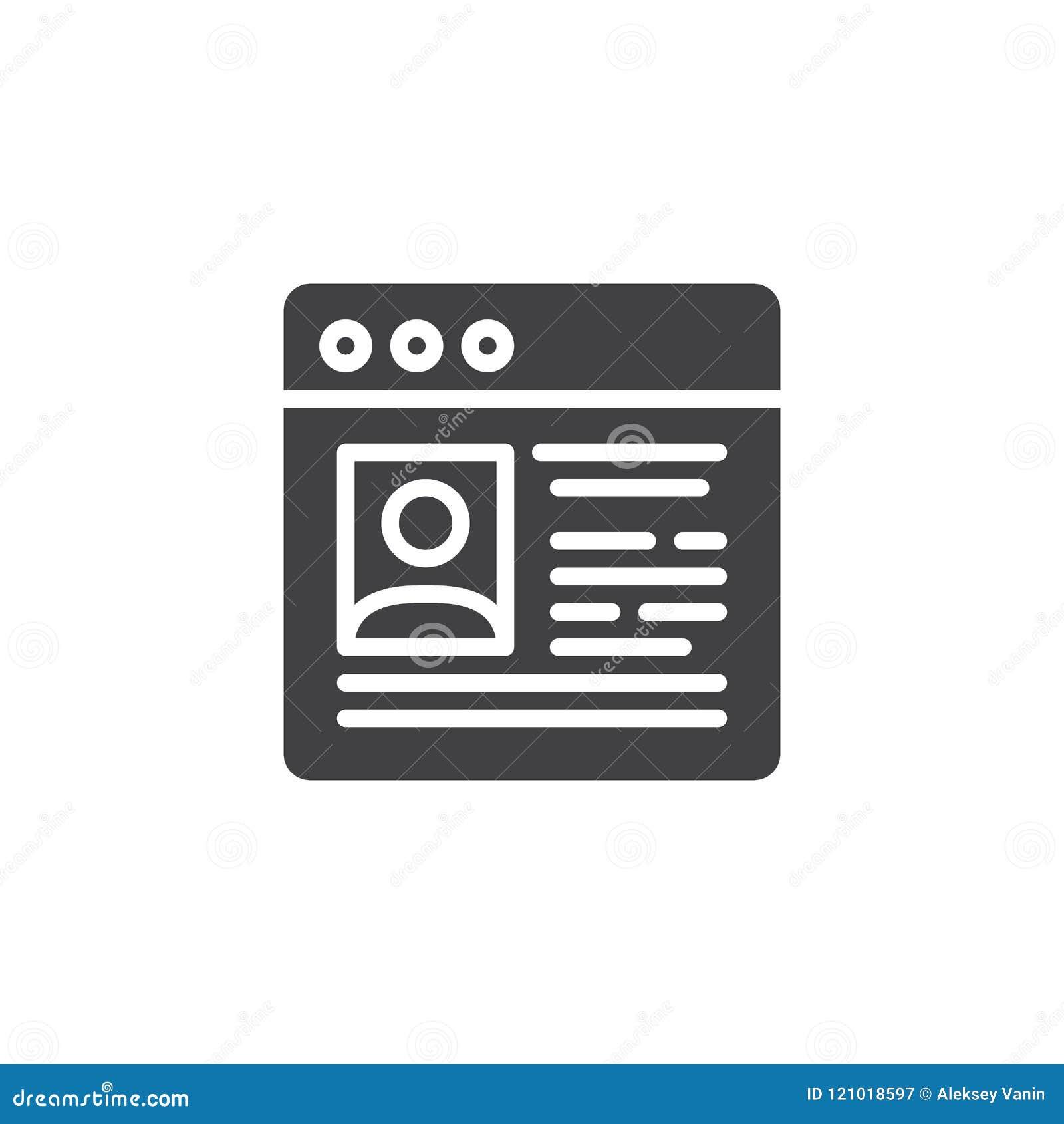 Website Cv vector icon stock vector. Illustration of logo - 121018597