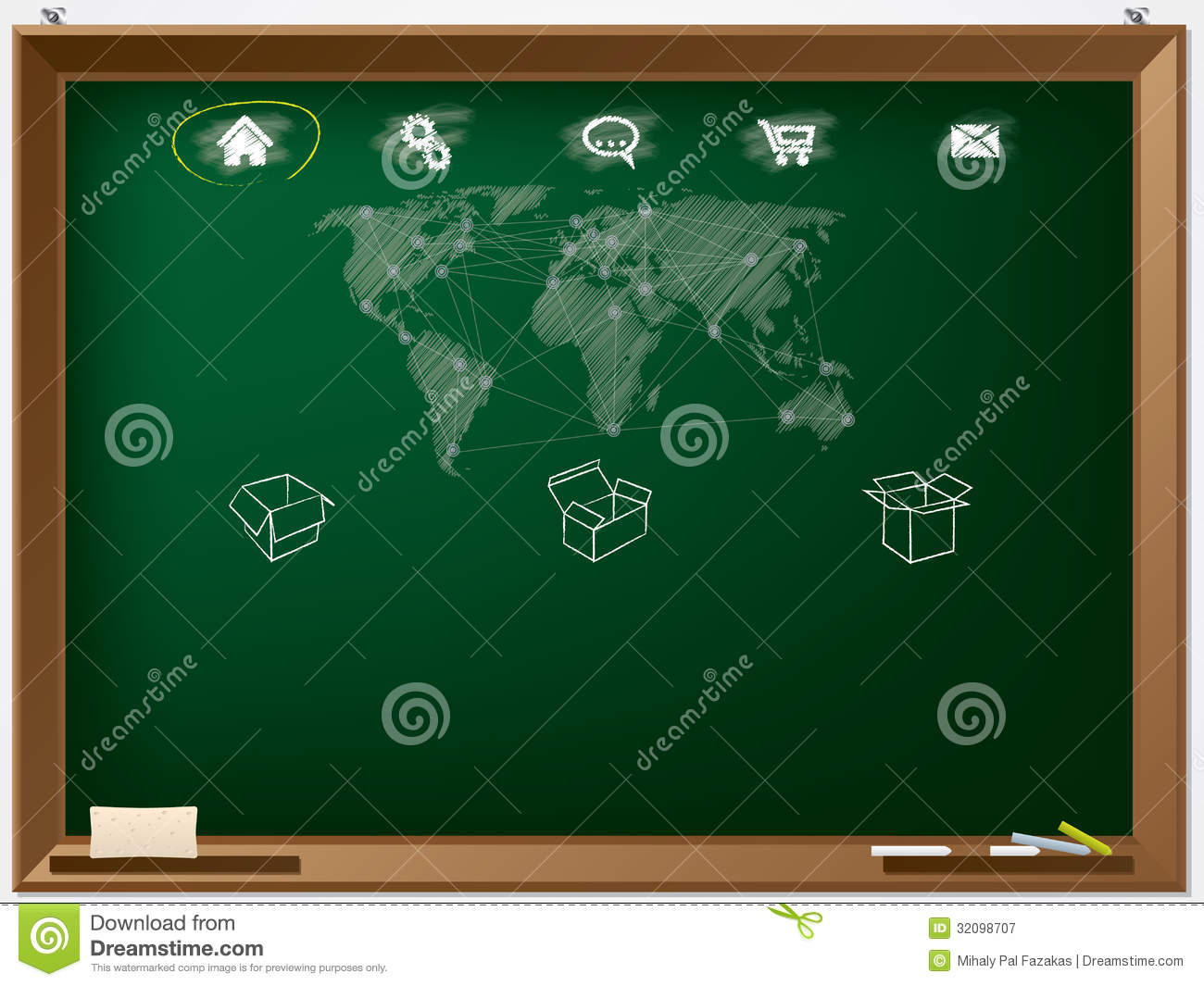 Website Design Template Drawn On Chalkboard Illustration 32098707 ...