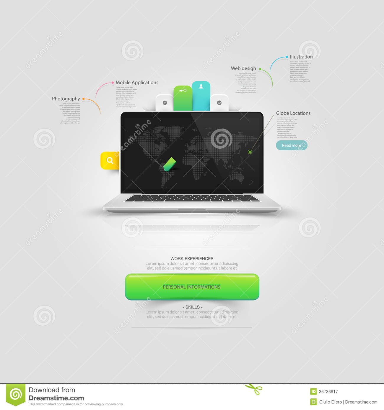 Website Design Template Elements: Mock-up Vcard Te Stock Vector ...