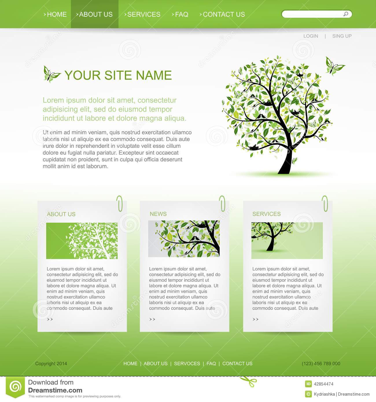 website design template with green tree stock vector