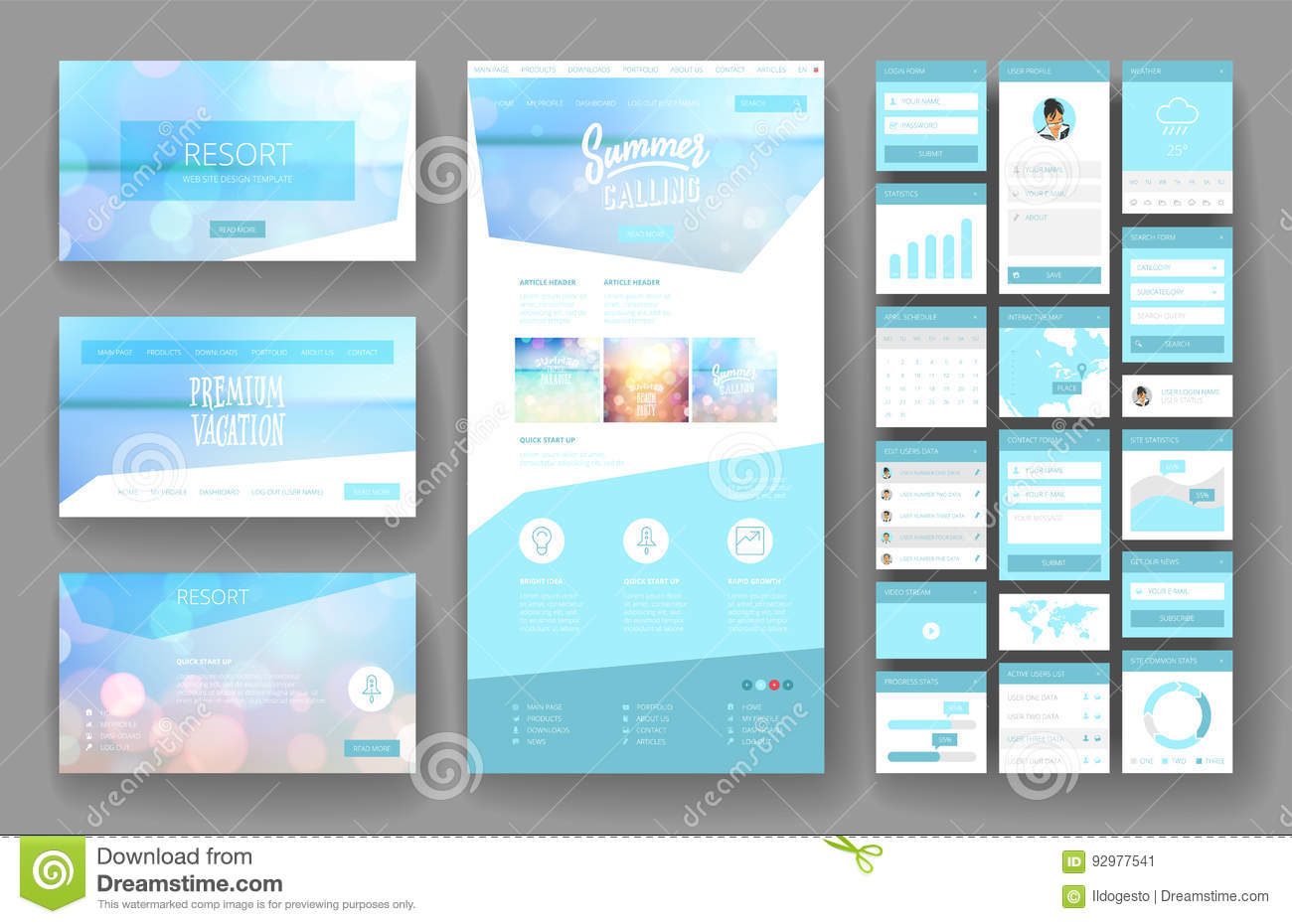 Website Design Template And Interface Elements Stock Vector
