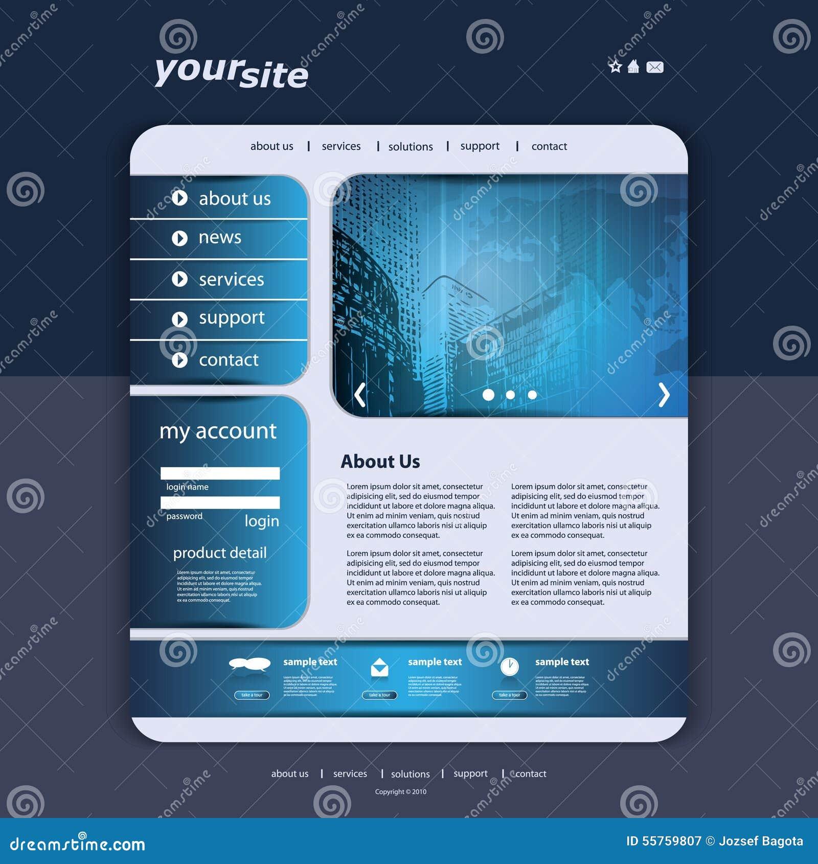 Map Design Website Template: Website Design Template Stock Vector. Illustration Of