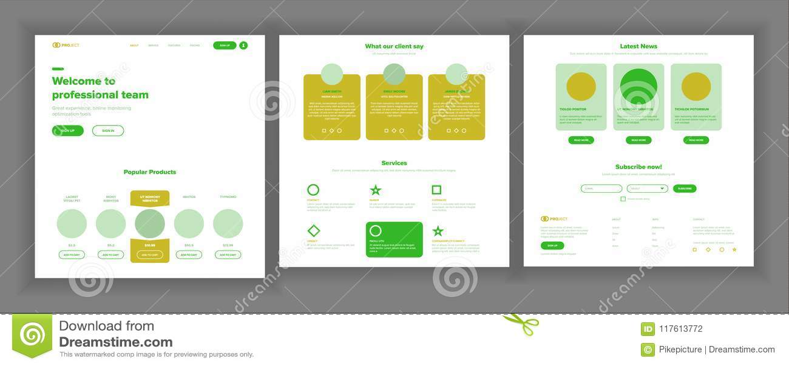 Website Design Template Vector Business Background Landing Web
