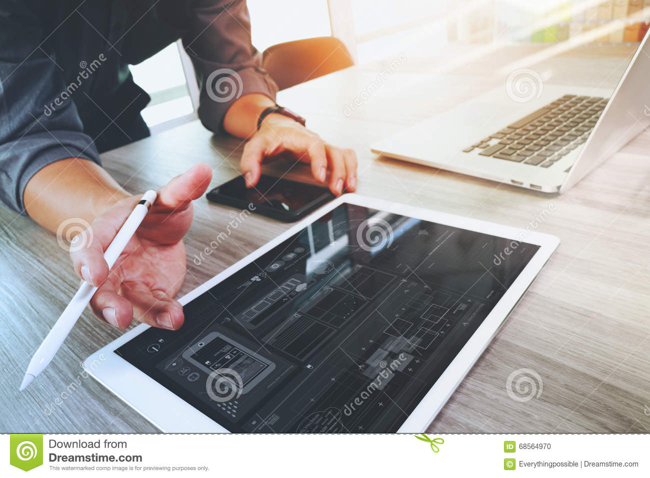 Download Website Designer Working Digital Tablet And Computer Laptop Stock Photo - Image of laptop, brand: 68564970