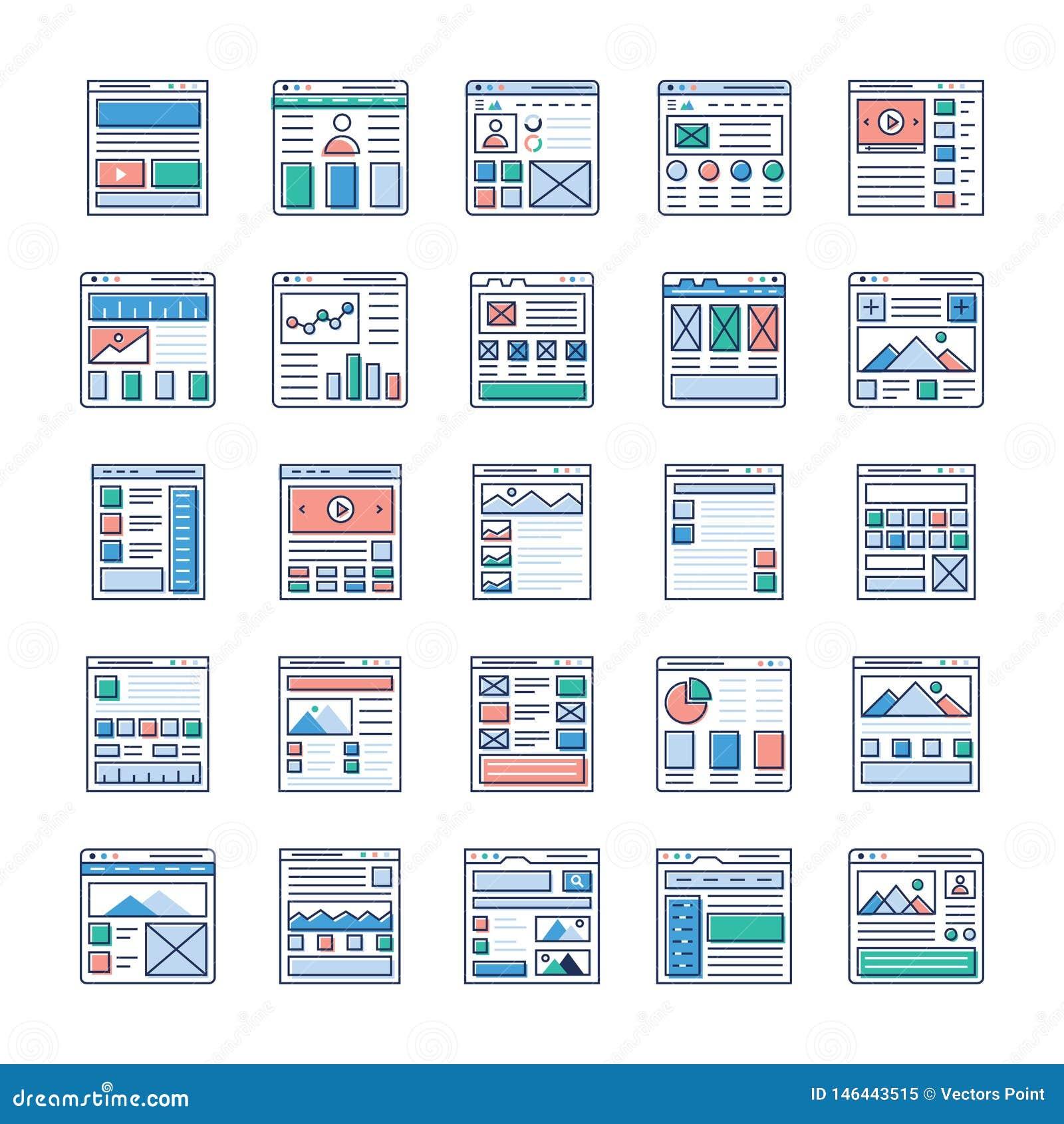 Website Designing Flat Icons Pack