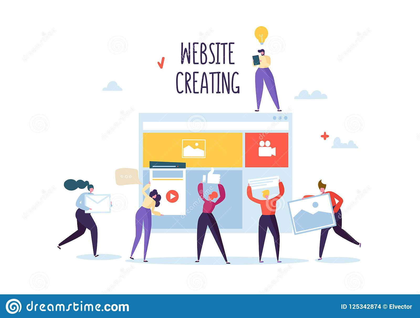 Website Development Concept. Flat People Characters Team Work Creating Web Page. User Interface Mobile Application