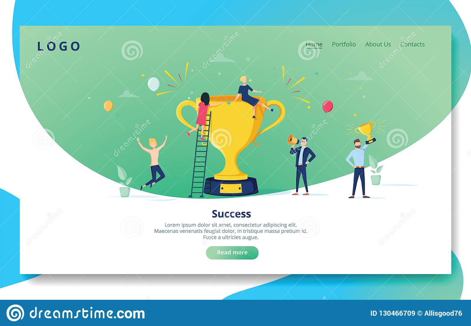 Website Development Landing Page Template. Mobile Application Layout with Flat People with Golden Prize. Business
