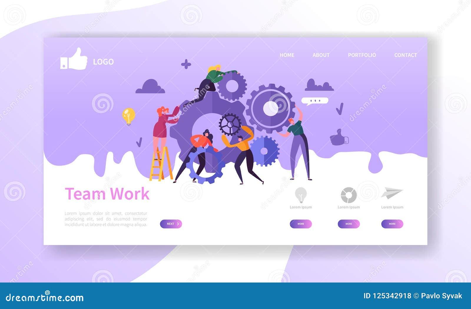 Website-Entwicklungs-Landungs-Seiten-Schablone Beweglicher Anwendungs-Plan mit flachen Geschäftsleuten Laufwerk- Team Arbeit