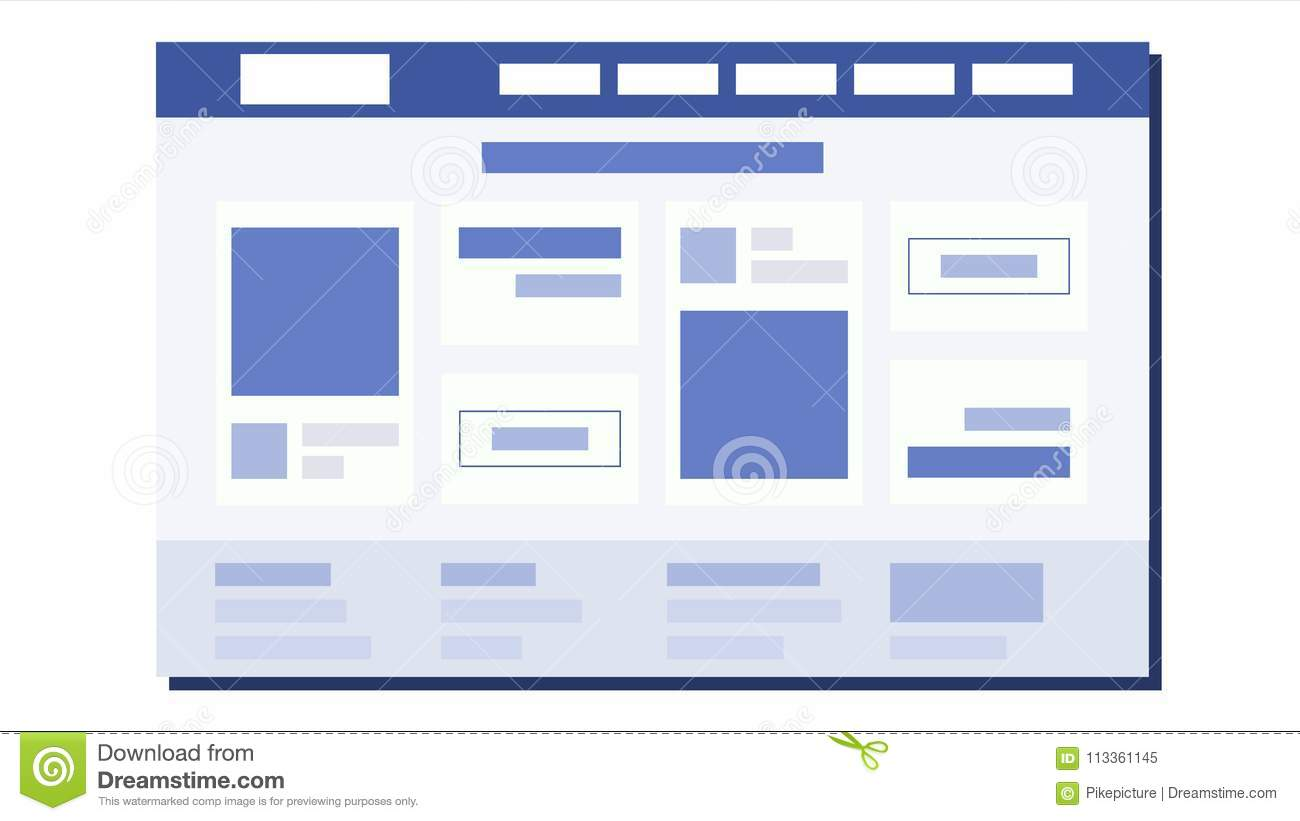 Website Flat Design Vector. Page Plan. Coding. Web Development. Website Template. Illustration