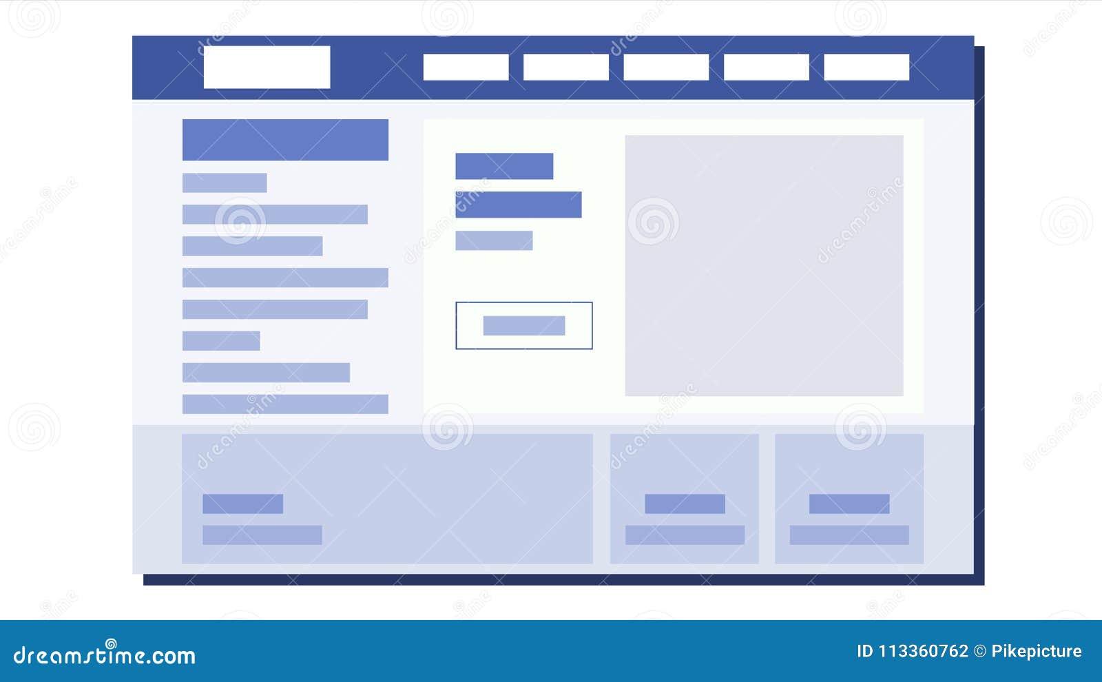 Website Flat Design Vector Ui Window Sample Web Page Design Illustration Stock Vector Illustration Of Business Phone 113360762